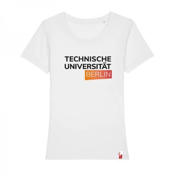 tailliertes Bio T-Shirt weiß, orange/rot