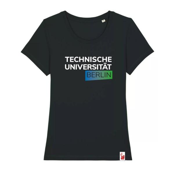 tailliertes Bio T-Shirt schwarz, blau/grün