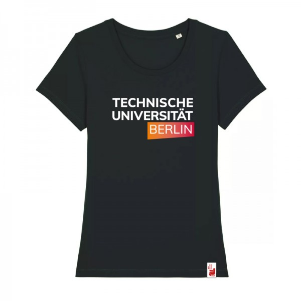 tailliertes Bio T-Shirt schwarz, orange/rot